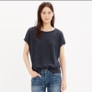 Madewell Gray Linen Cropped Tee